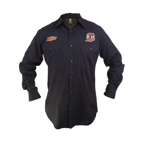 Sydney Roosters NRL LONG Sleeve Button Work Shirt: BLACK