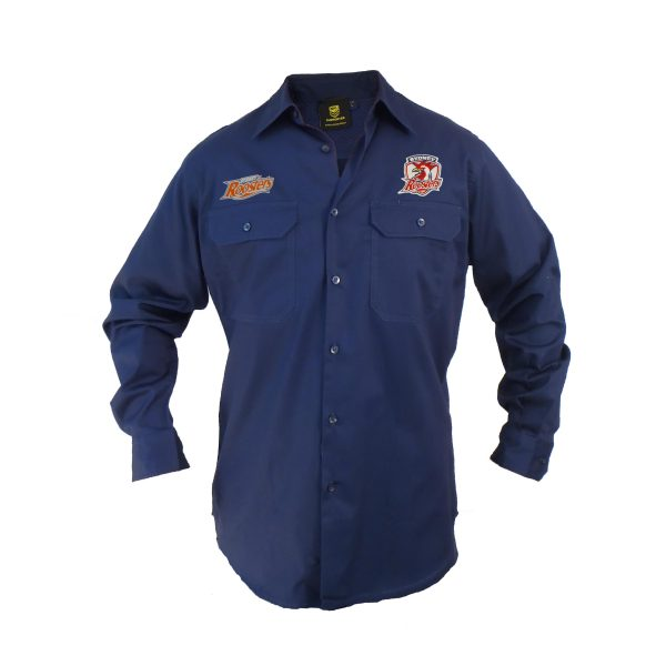Sydney Roosters NRL LONG Sleeve Button Work Shirt: NAVY