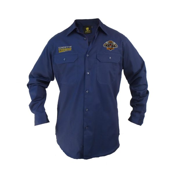 Wests Tigers NRL LONG Sleeve Button Work Shirt: NAVY