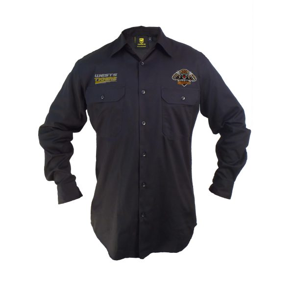 Wests Tigers NRL LONG Sleeve Button Work Shirt: BLACK