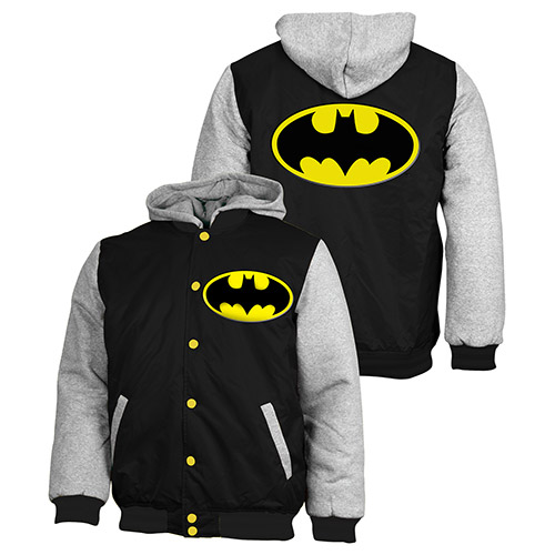 Batman Jacket Jumper Coat Hoodie Embroidered Quilted lined