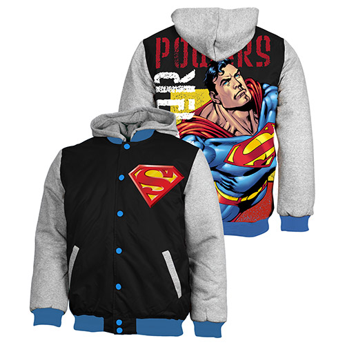 Superman Jacket Jumper Coat Hoodie Embroidered Quilted lined
