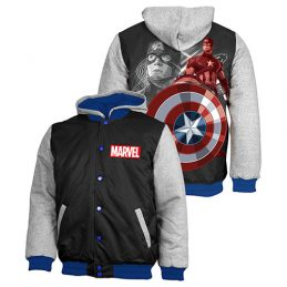 MARVEL Captain America Jacket Jumper Coat Hoodie Embroidered Quilted lined