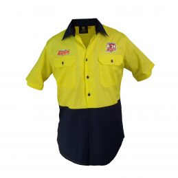 Sydney Roosters NRL Short Sleeve Button Work Shirt: HI VIS YELLOW/NAVY