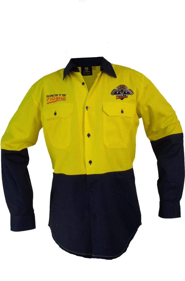 Wests Tigers NRL LONG Sleeve Button Work Shirt: HI VIS YELLOW/NAVY