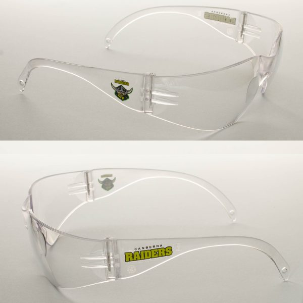 2 x  Canberra Raiders NRL Safety Eyewear Glasses Work Protect CLEAR