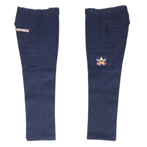 North QLD Queensland Cowboys NRL Long Cargo Work Pants: NAVY Workwear Safety Gift Tradies