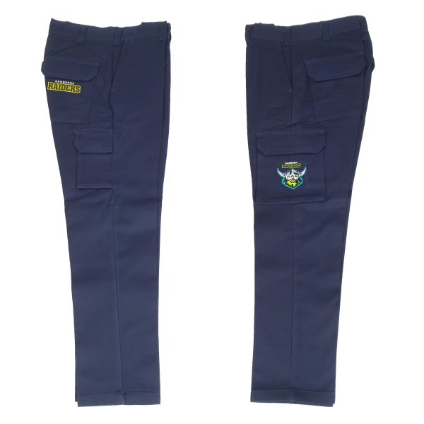 Canberra Raiders NRL Long Cargo Work Pants: NAVY Workwear Safety Gift Tradies