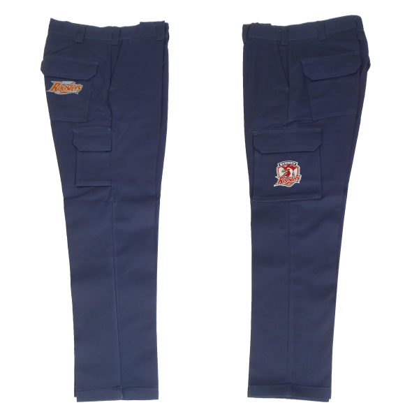Sydney Roosters NRL Long Cargo Work Pants: NAVY Workwear Safety Gift Tradies